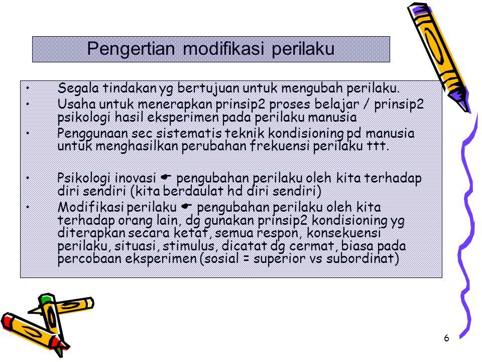 Pengertian modifikasi perilaku