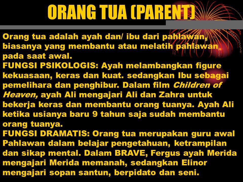 ORANG TUA (PARENT) Orang tua adalah ayah dan/ ibu dari pahlawan, biasanya yang membantu atau melatih pahlawan pada saat awal.