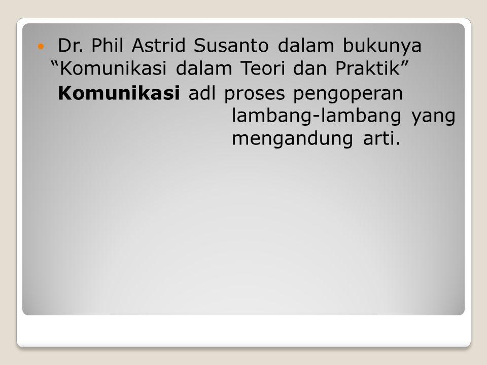 Dr. Phil Astrid Susanto dalam bukunya Komunikasi dalam Teori dan Praktik