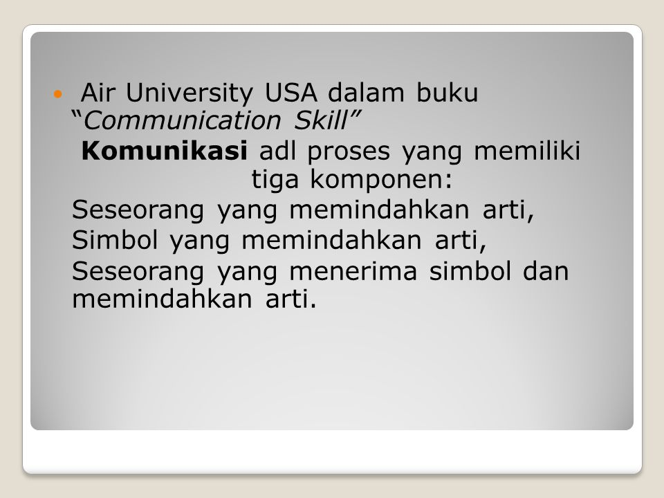 Air University USA dalam buku Communication Skill