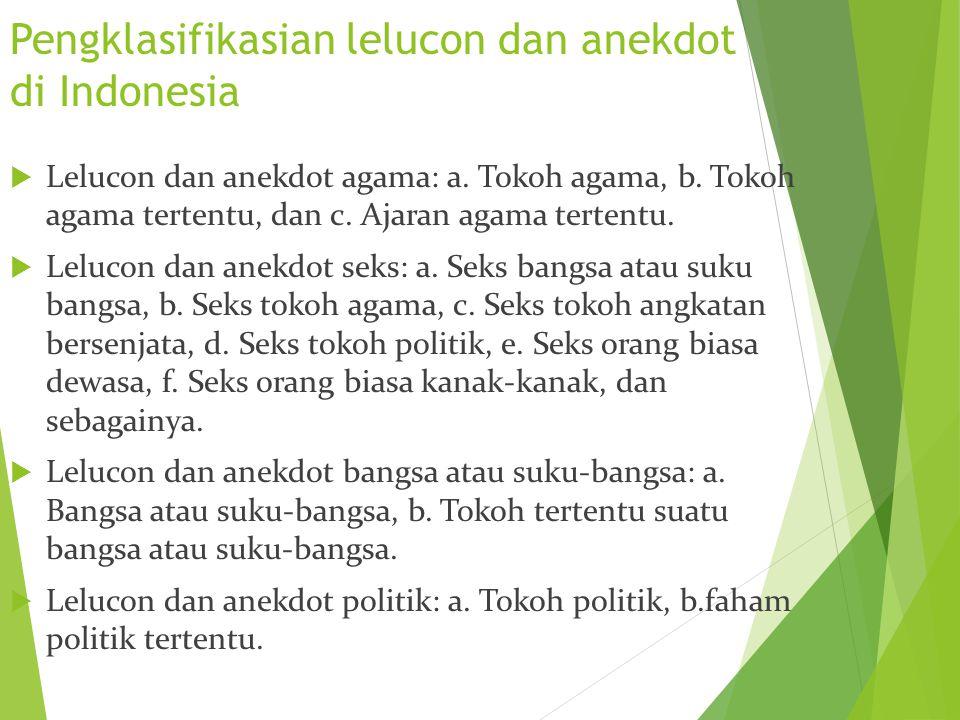 Pengklasifikasian lelucon dan anekdot di Indonesia