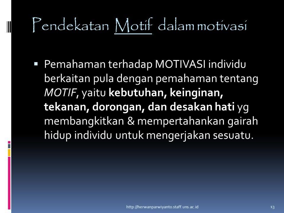 Pendekatan Motif dalam motivasi