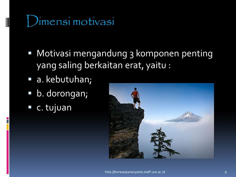 Dimensi motivasi Motivasi mengandung 3 komponen penting yang saling berkaitan erat, yaitu : a. kebutuhan;