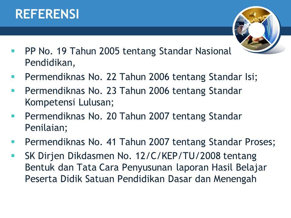 REFERENSI PP No. 19 Tahun 2005 tentang Standar Nasional Pendidikan,