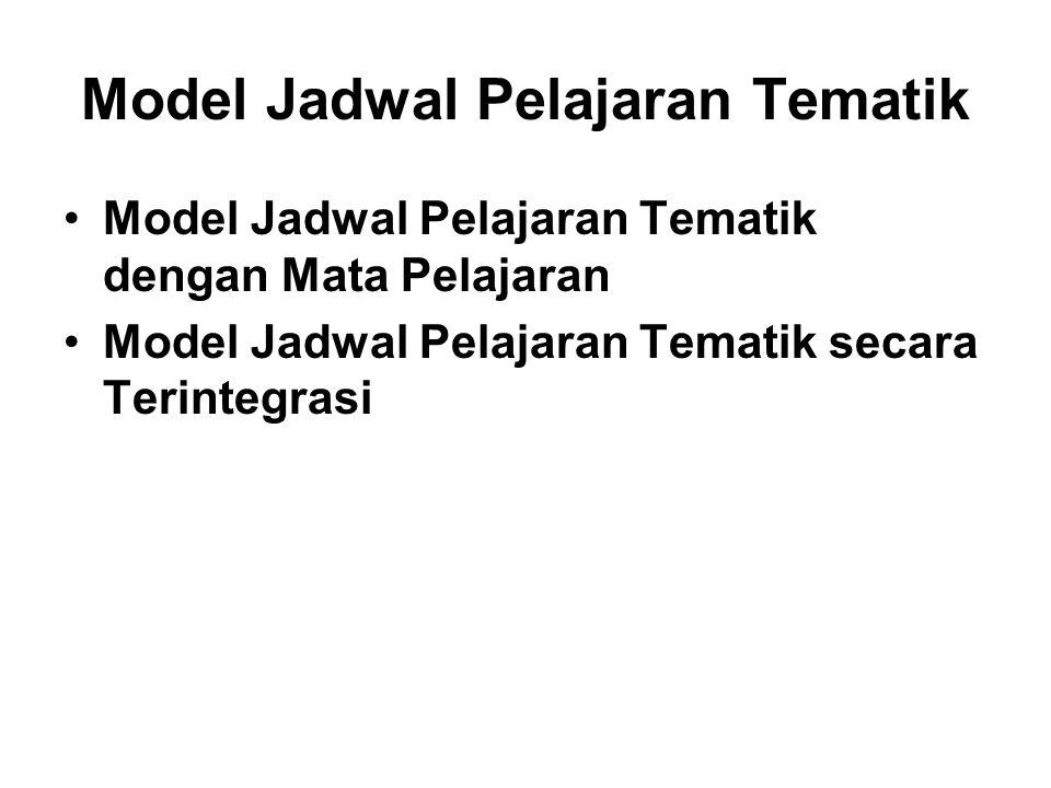 Model Jadwal Pelajaran Tematik