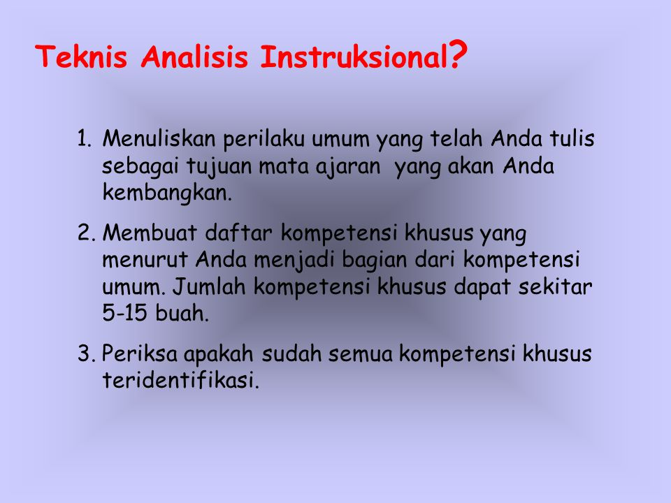 Teknis Analisis Instruksional