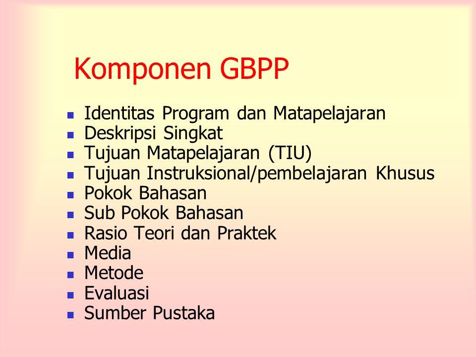 Komponen GBPP Identitas Program dan Matapelajaran Deskripsi Singkat