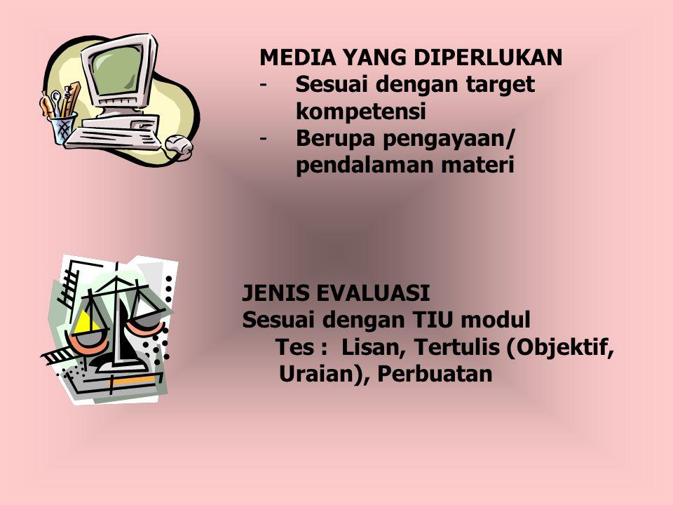 MEDIA YANG DIPERLUKAN Sesuai dengan target kompetensi. Berupa pengayaan/ pendalaman materi. JENIS EVALUASI.
