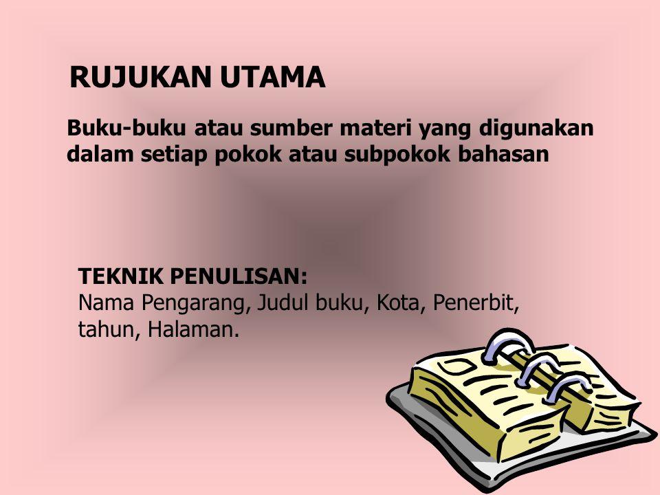 RUJUKAN UTAMA Buku-buku atau sumber materi yang digunakan dalam setiap pokok atau subpokok bahasan.