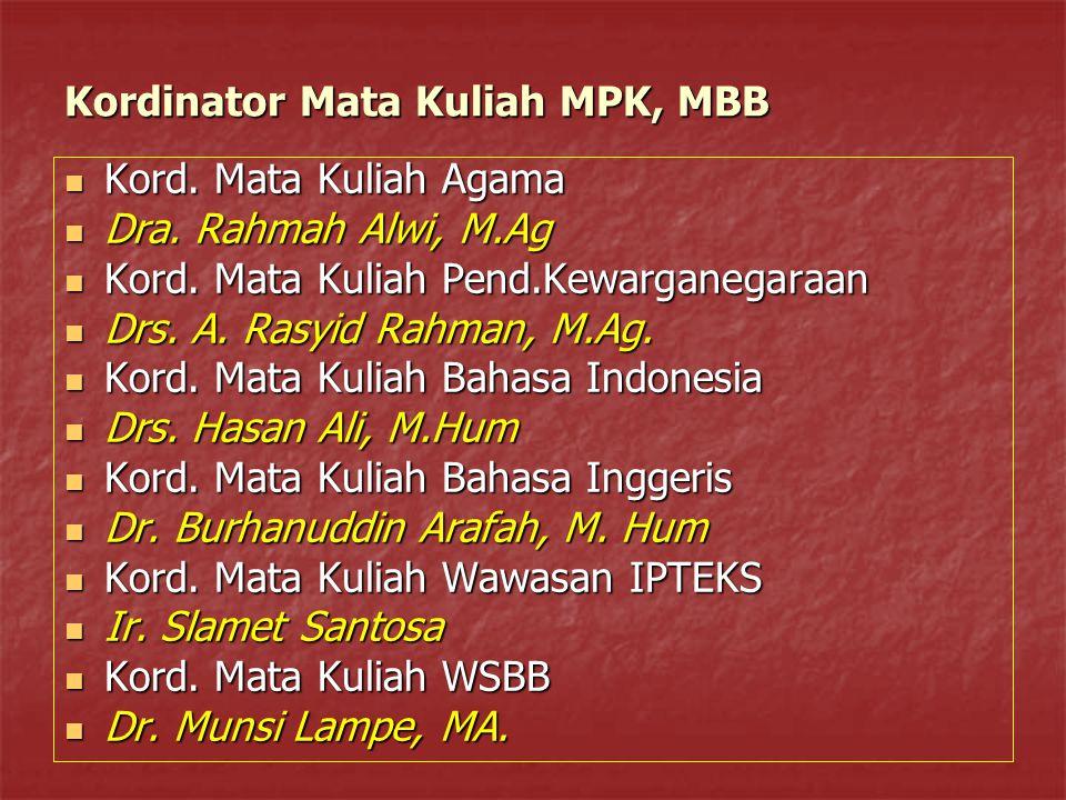 Kordinator Mata Kuliah MPK, MBB