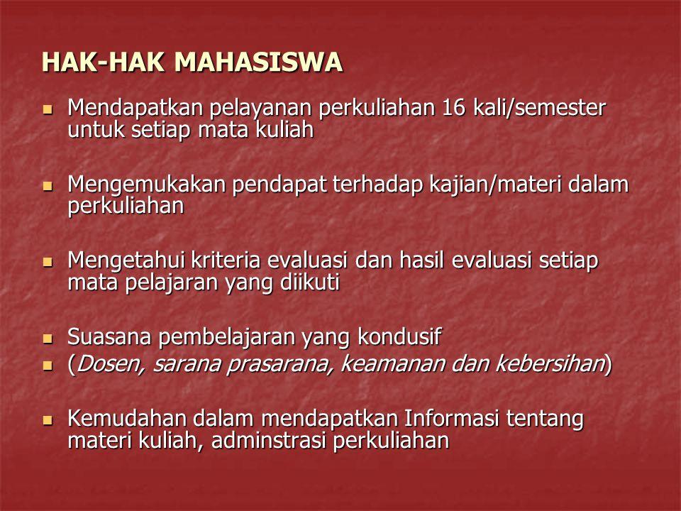 HAK-HAK MAHASISWA Mendapatkan pelayanan perkuliahan 16 kali/semester untuk setiap mata kuliah.