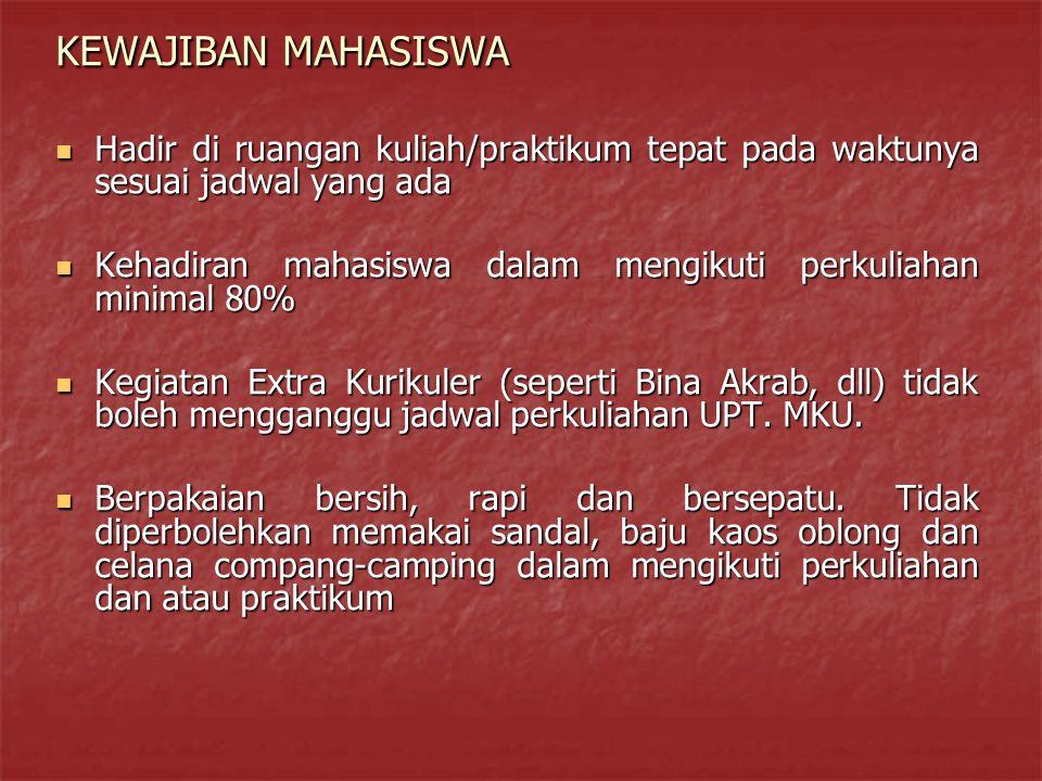 KEWAJIBAN MAHASISWA Hadir di ruangan kuliah/praktikum tepat pada waktunya sesuai jadwal yang ada.
