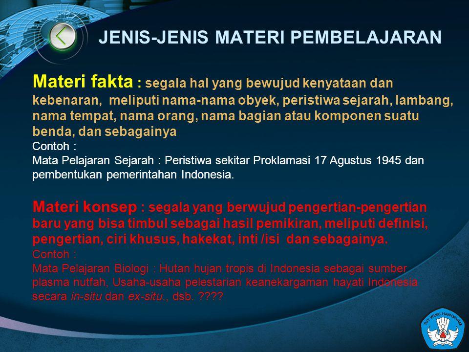 JENIS-JENIS MATERI PEMBELAJARAN