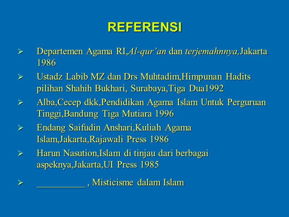 REFERENSI Departemen Agama RI,Al-qur'an dan terjemahnnya,Jakarta 1986