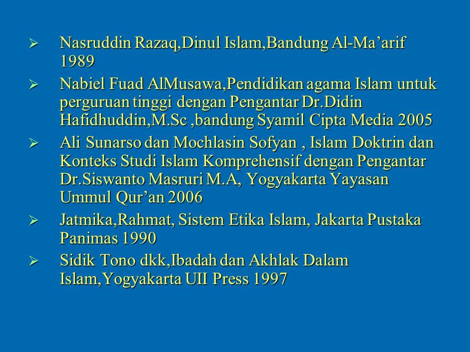 Nasruddin Razaq,Dinul Islam,Bandung Al-Ma'arif 1989