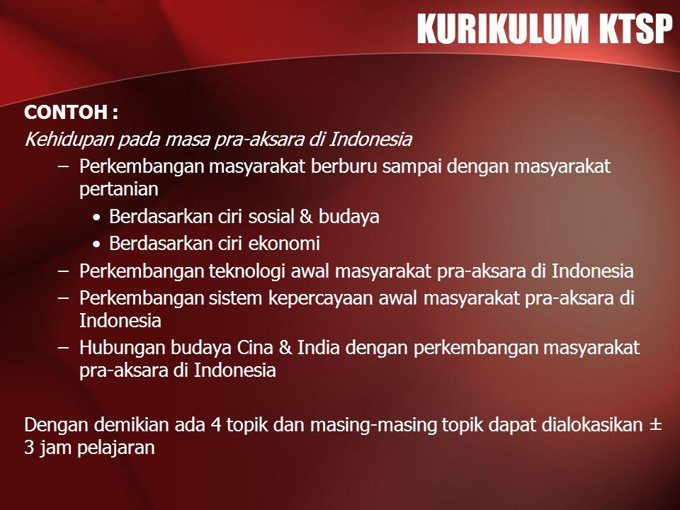 KURIKULUM KTSP CONTOH : Kehidupan pada masa pra-aksara di Indonesia