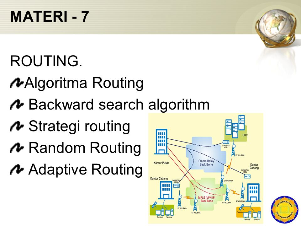 MATERI - 7 ROUTING. Algoritma Routing. Backward search algorithm. Strategi routing. Random Routing.