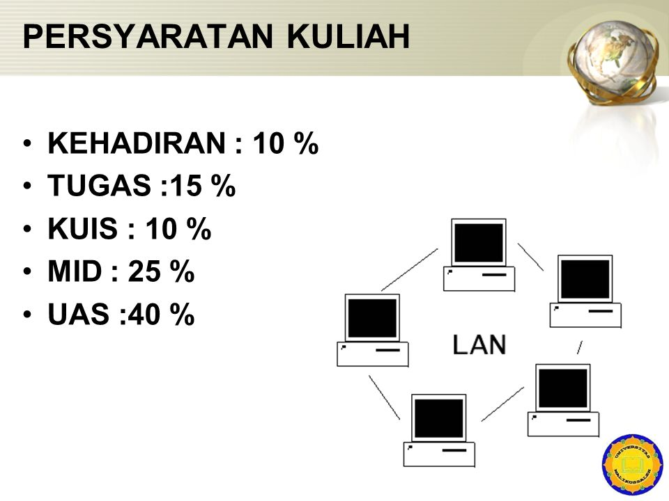 PERSYARATAN KULIAH KEHADIRAN : 10 % TUGAS :15 % KUIS : 10 % MID : 25 %
