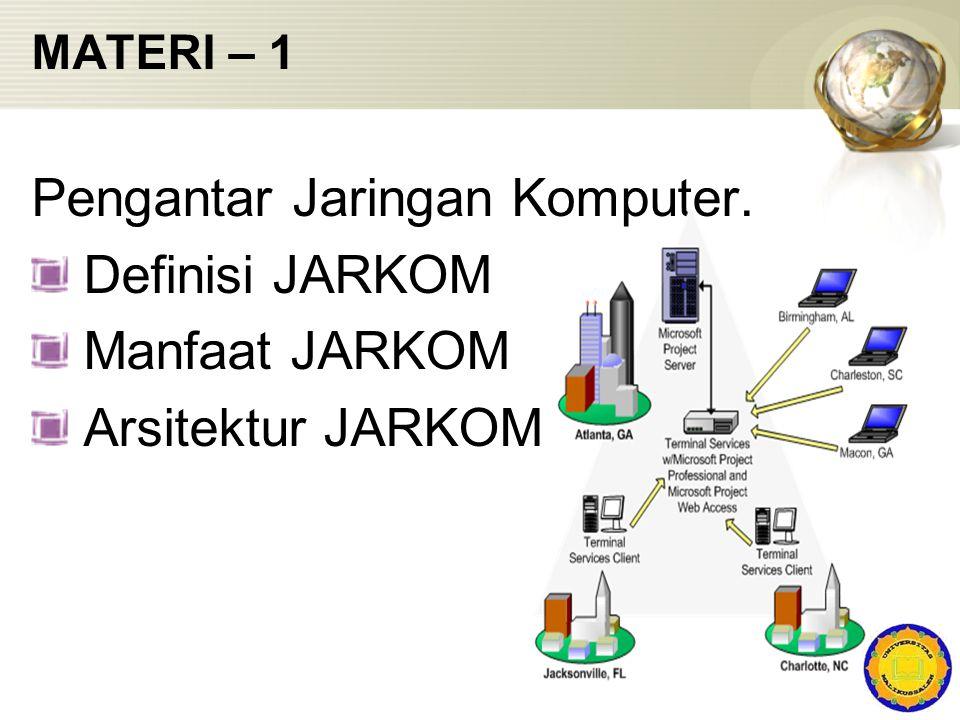 Pengantar Jaringan Komputer. Definisi JARKOM Manfaat JARKOM