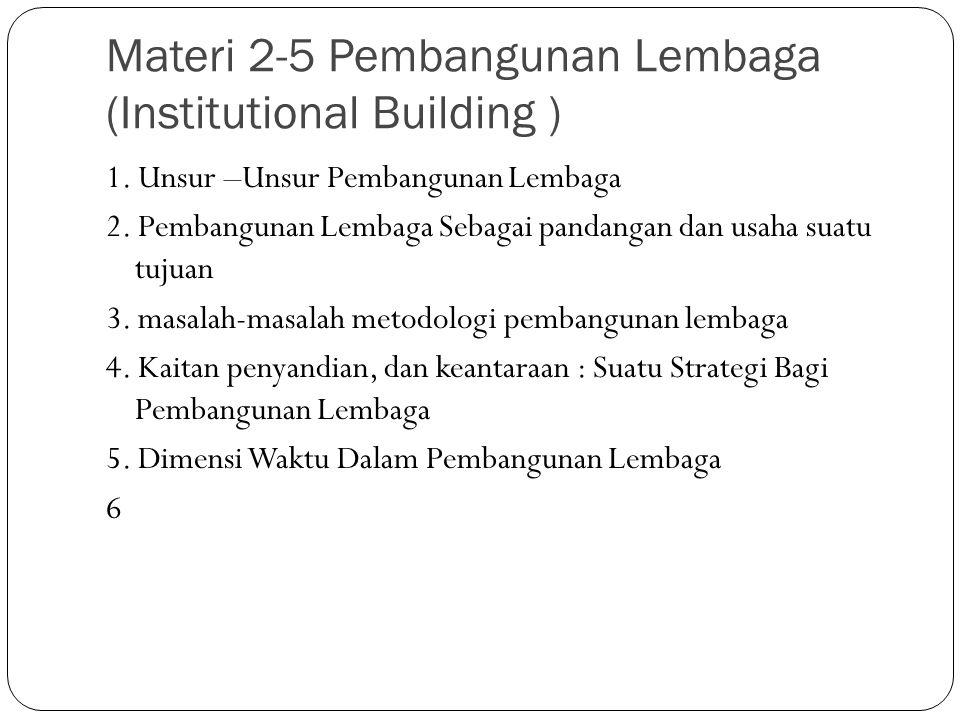 Materi 2-5 Pembangunan Lembaga (Institutional Building )