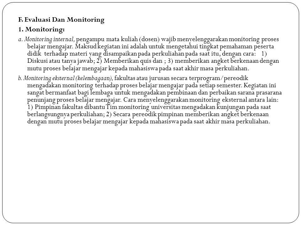 F. Evaluasi Dan Monitoring 1. Monitoring: a