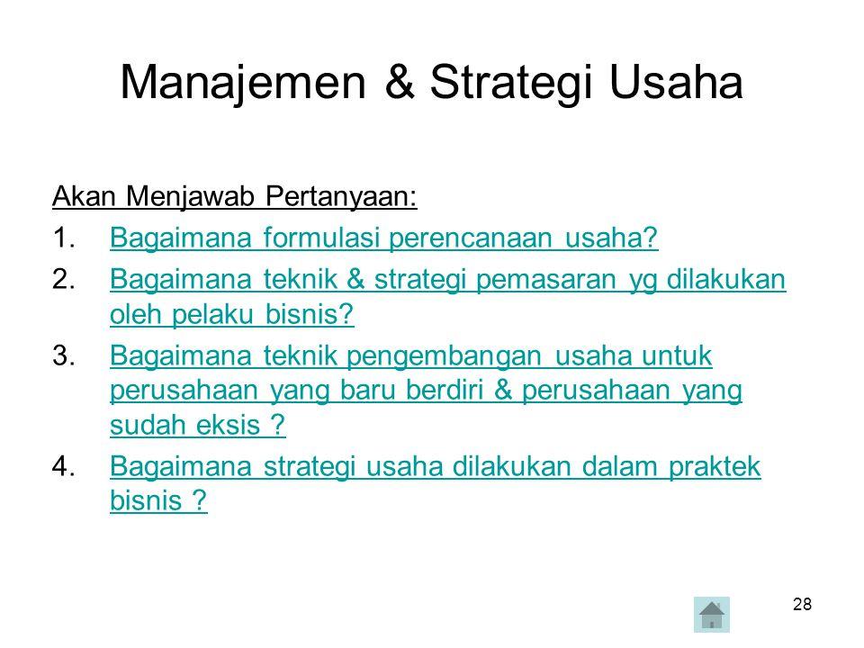 Manajemen & Strategi Usaha