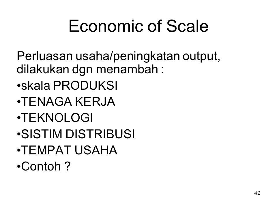 Economic of Scale Perluasan usaha/peningkatan output, dilakukan dgn menambah : skala PRODUKSI. TENAGA KERJA.