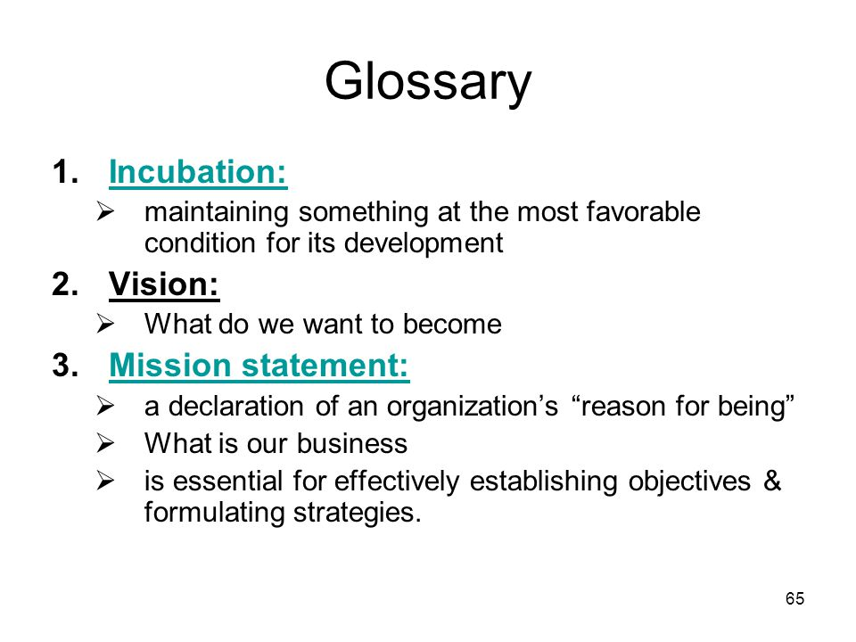 Glossary Incubation: Vision: Mission statement: