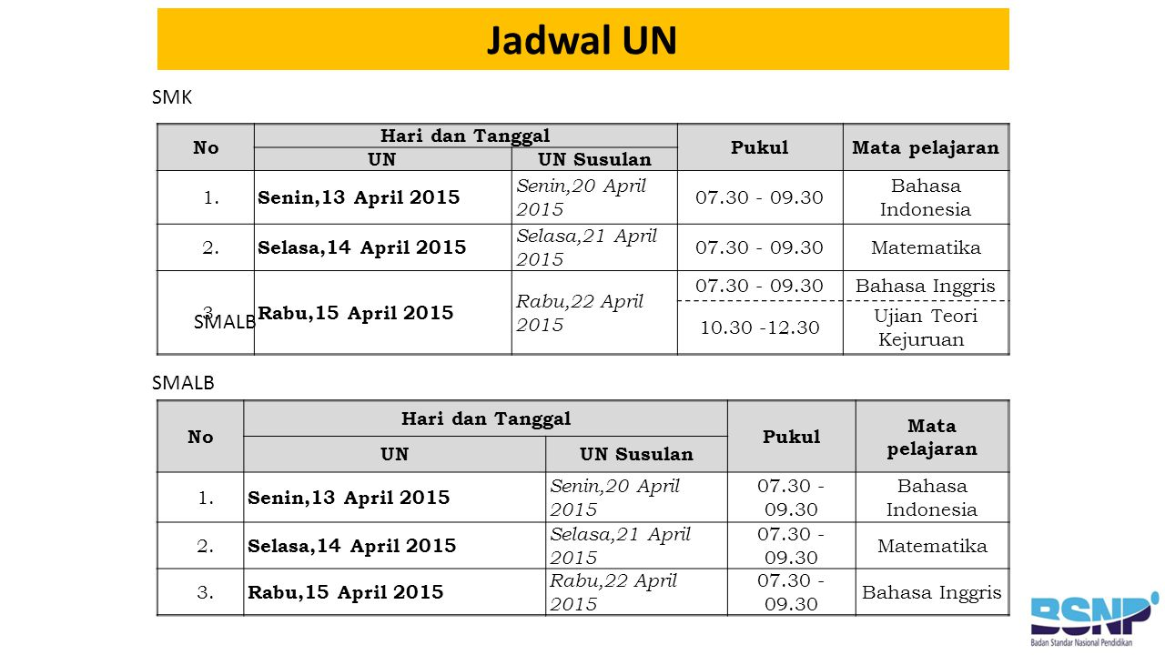 Jadwal UN SMK SMALB SMALB No Hari dan Tanggal Pukul Mata pelajaran UN
