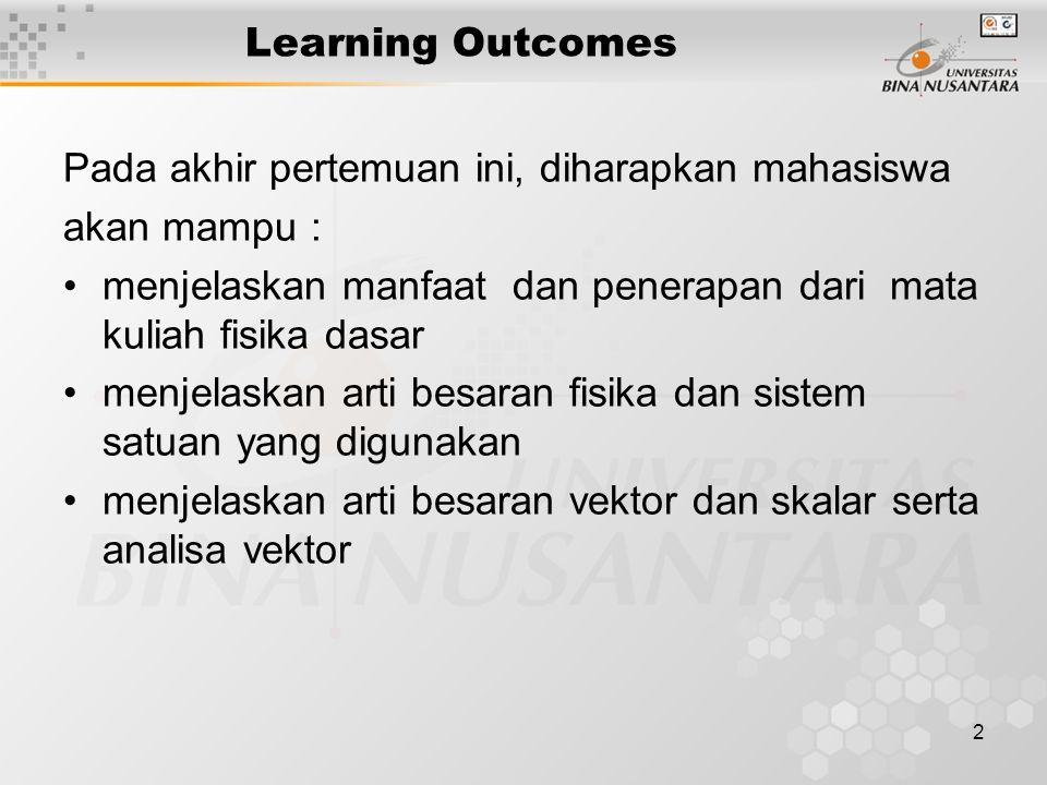 Learning Outcomes Pada akhir pertemuan ini, diharapkan mahasiswa. akan mampu : menjelaskan manfaat dan penerapan dari mata kuliah fisika dasar.