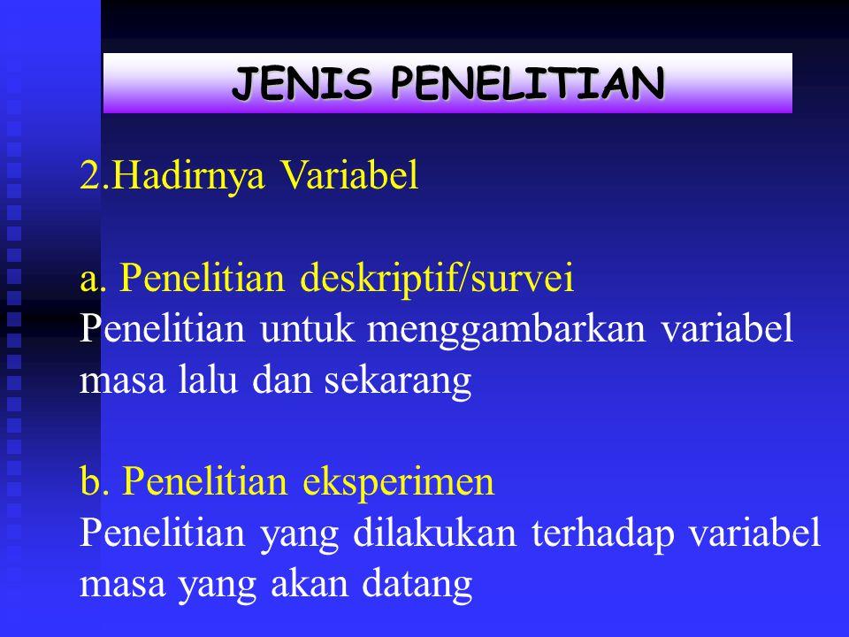 a. Penelitian deskriptif/survei