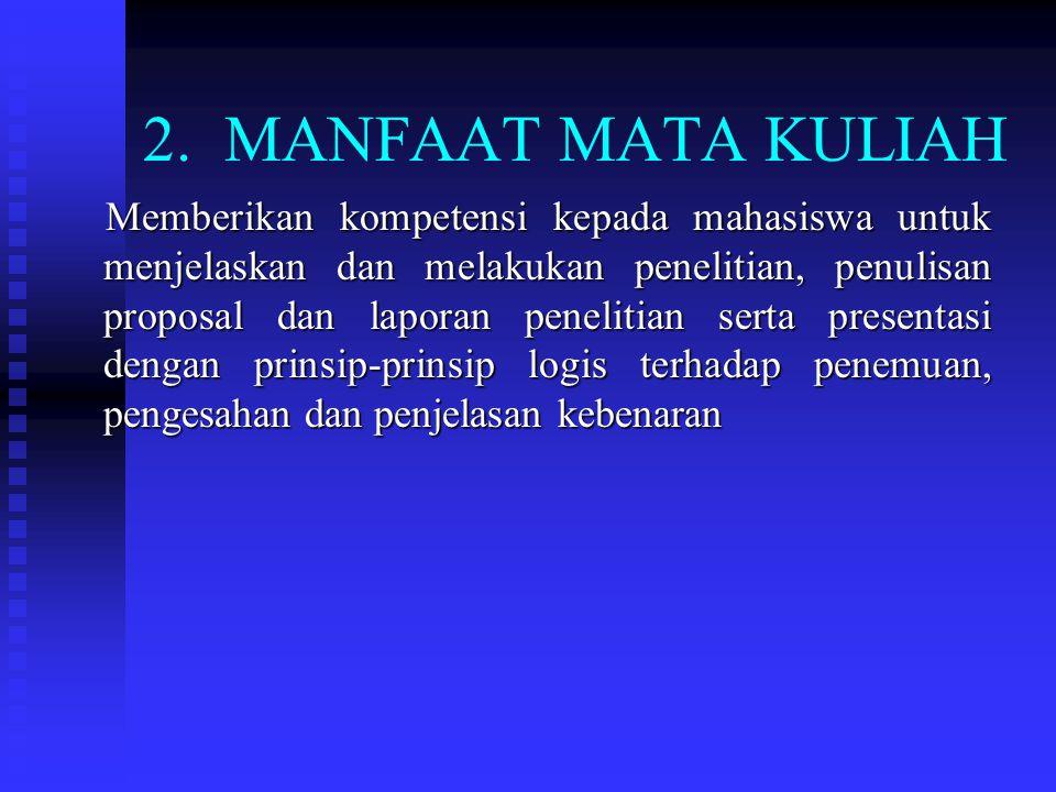 2. MANFAAT MATA KULIAH
