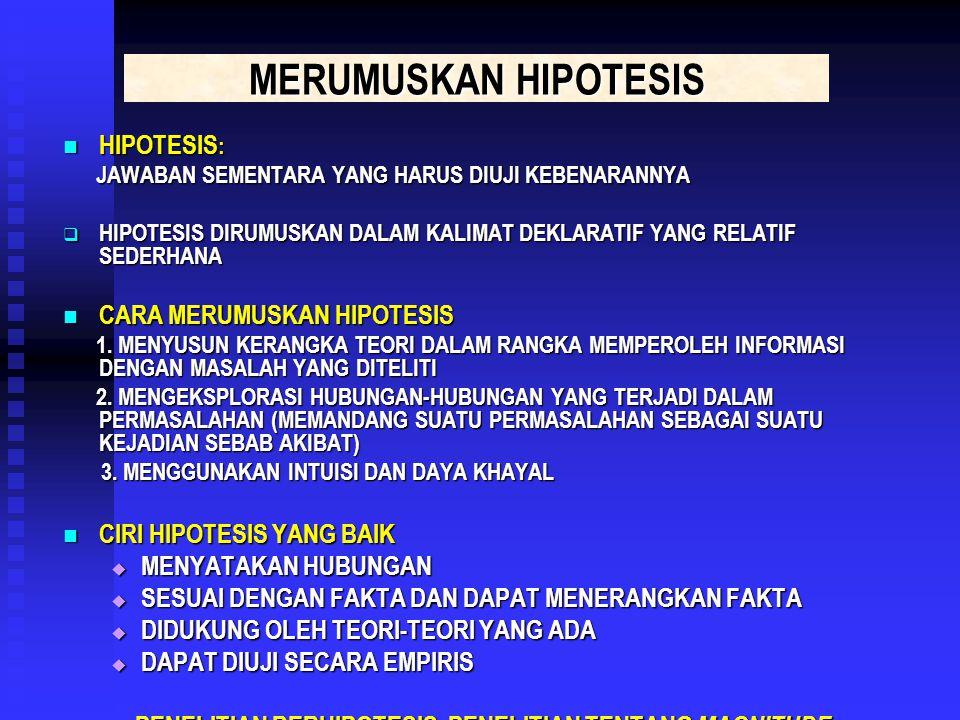 MERUMUSKAN HIPOTESIS HIPOTESIS: CARA MERUMUSKAN HIPOTESIS
