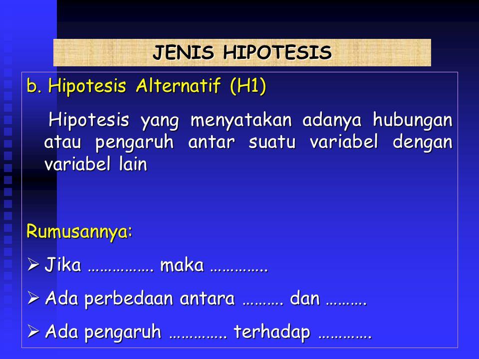JENIS HIPOTESIS b. Hipotesis Alternatif (H1) Hipotesis yang menyatakan adanya hubungan atau pengaruh antar suatu variabel dengan variabel lain.