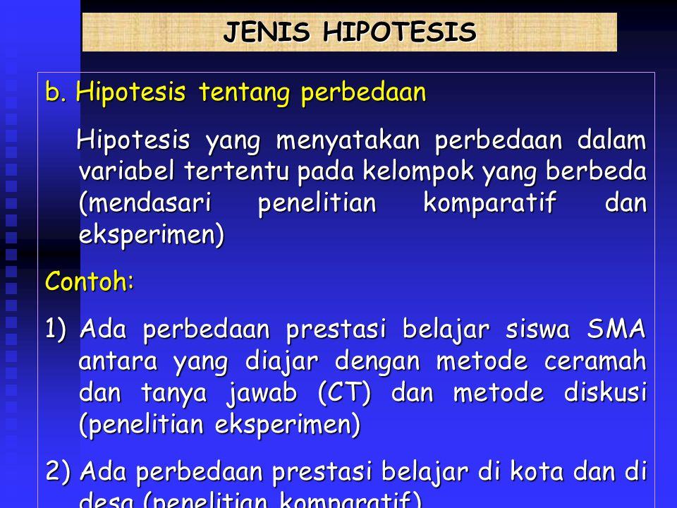 JENIS HIPOTESIS b. Hipotesis tentang perbedaan.