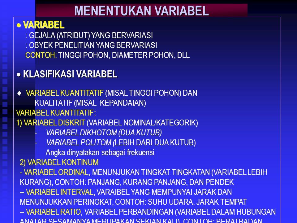 MENENTUKAN VARIABEL  VARIABEL  KLASIFIKASI VARIABEL