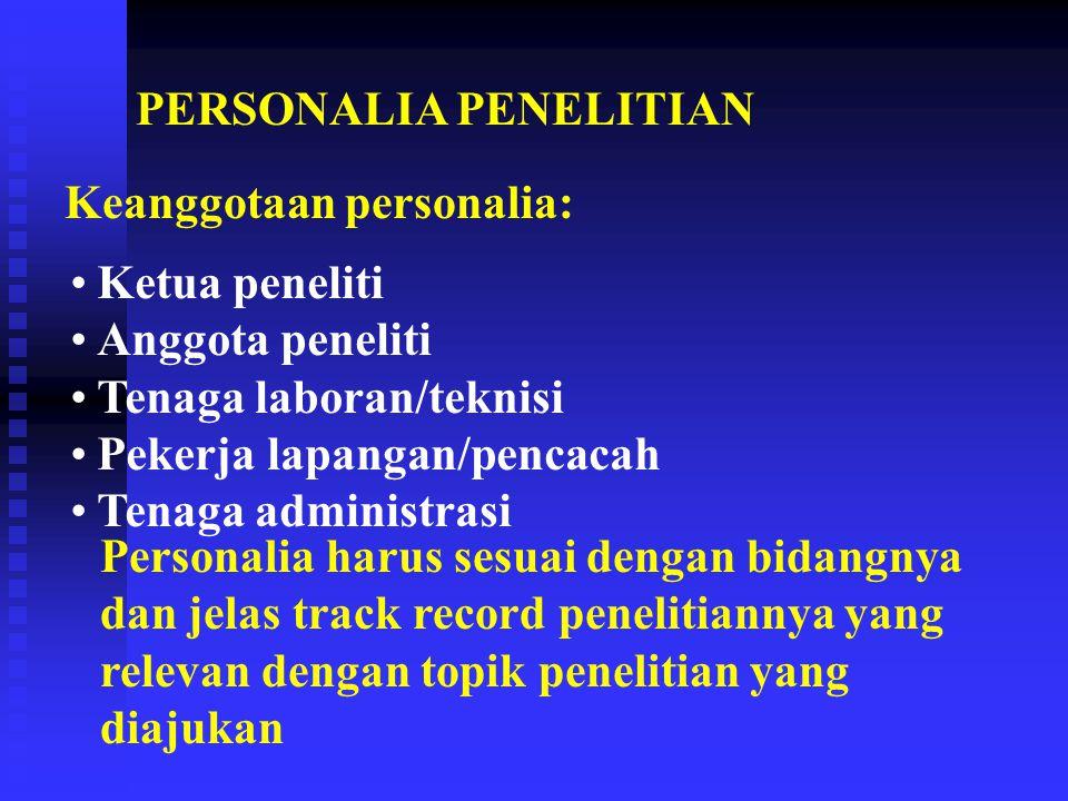 PERSONALIA PENELITIAN