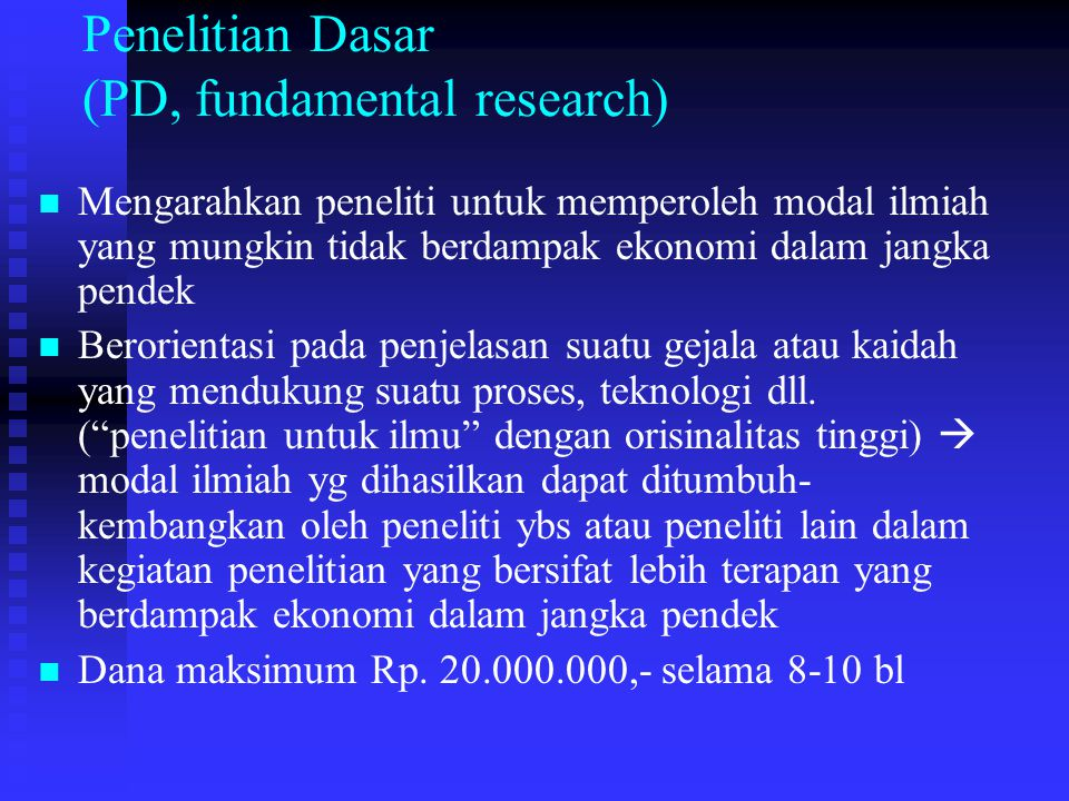 Penelitian Dasar (PD, fundamental research)