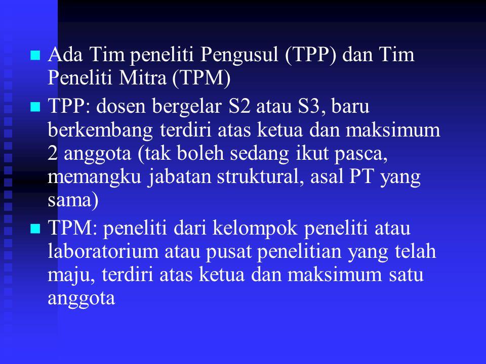 Ada Tim peneliti Pengusul (TPP) dan Tim Peneliti Mitra (TPM)