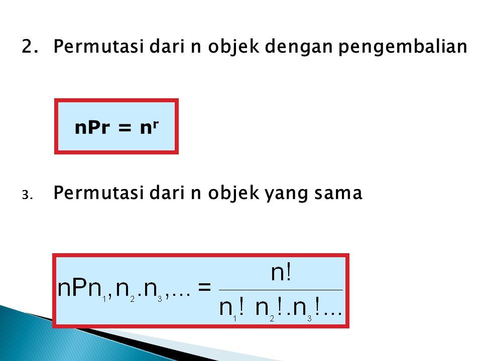 2. Permutasi dari n objek dengan pengembalian