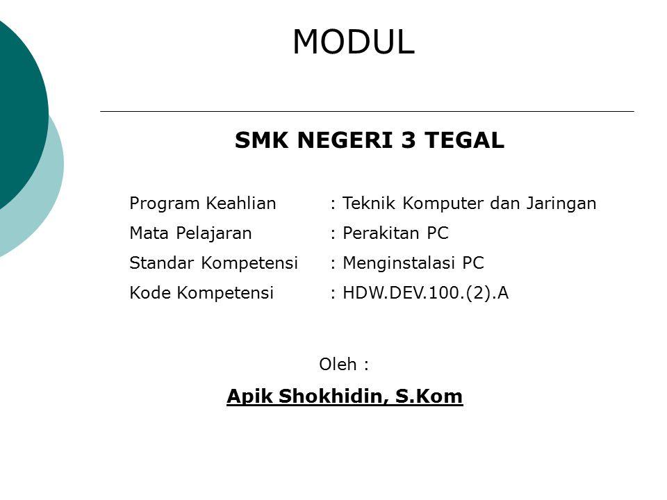 MODUL SMK NEGERI 3 TEGAL Apik Shokhidin, S.Kom