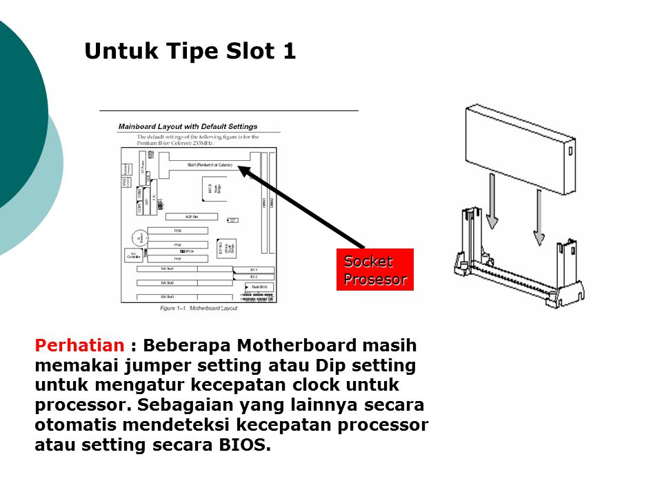 Untuk Tipe Slot 1 Socket Prosesor.