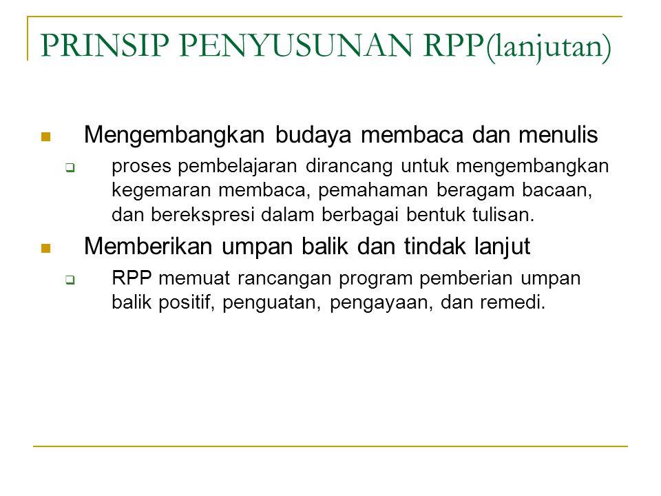 PRINSIP PENYUSUNAN RPP(lanjutan)