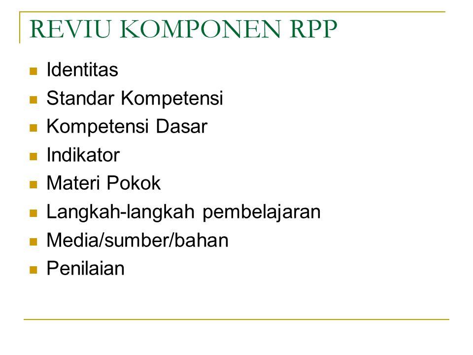 REVIU KOMPONEN RPP Identitas Standar Kompetensi Kompetensi Dasar