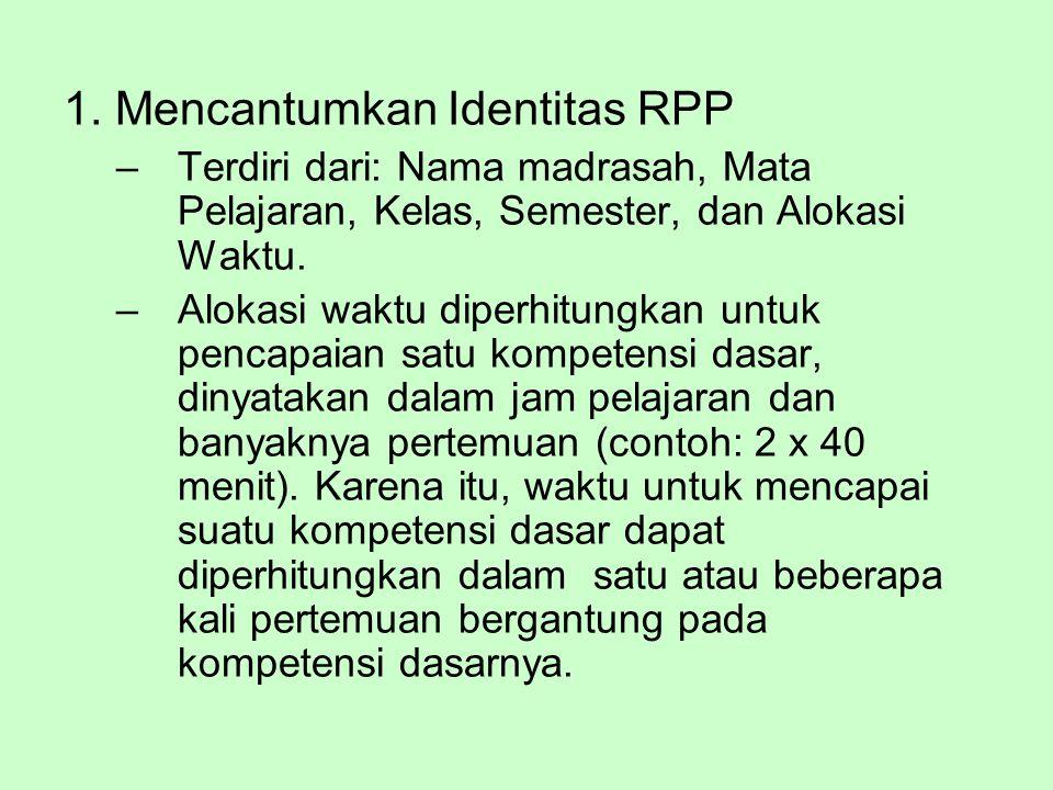 1. Mencantumkan Identitas RPP