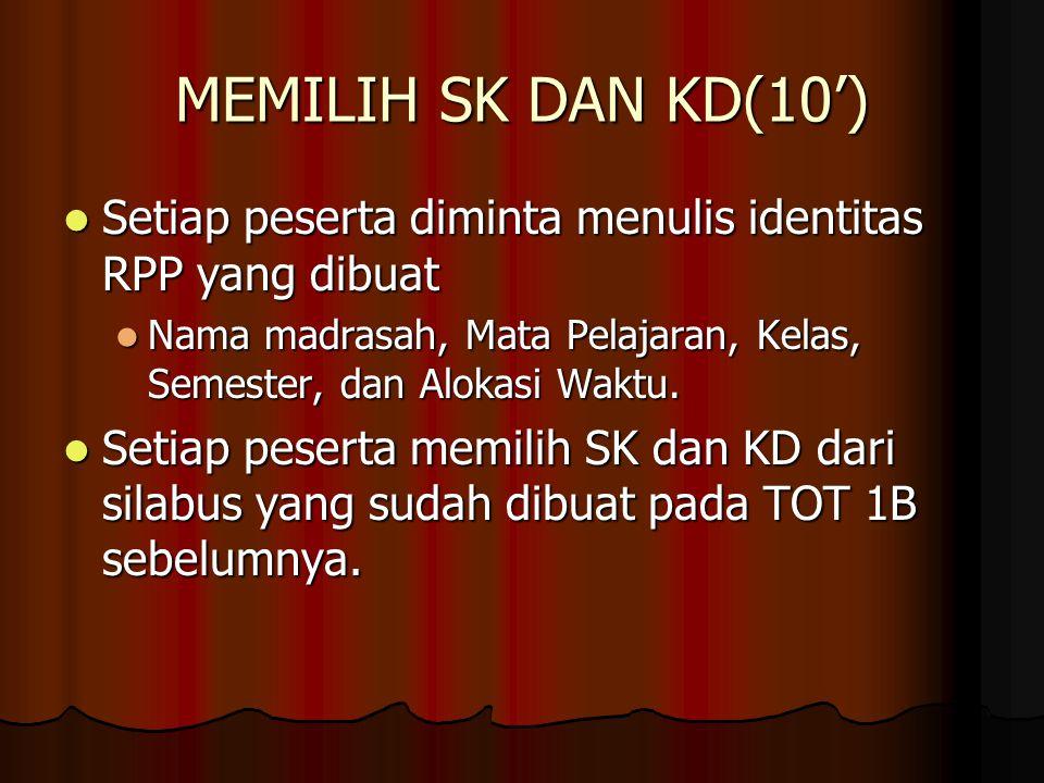 MEMILIH SK DAN KD(10') Setiap peserta diminta menulis identitas RPP yang dibuat. Nama madrasah, Mata Pelajaran, Kelas, Semester, dan Alokasi Waktu.