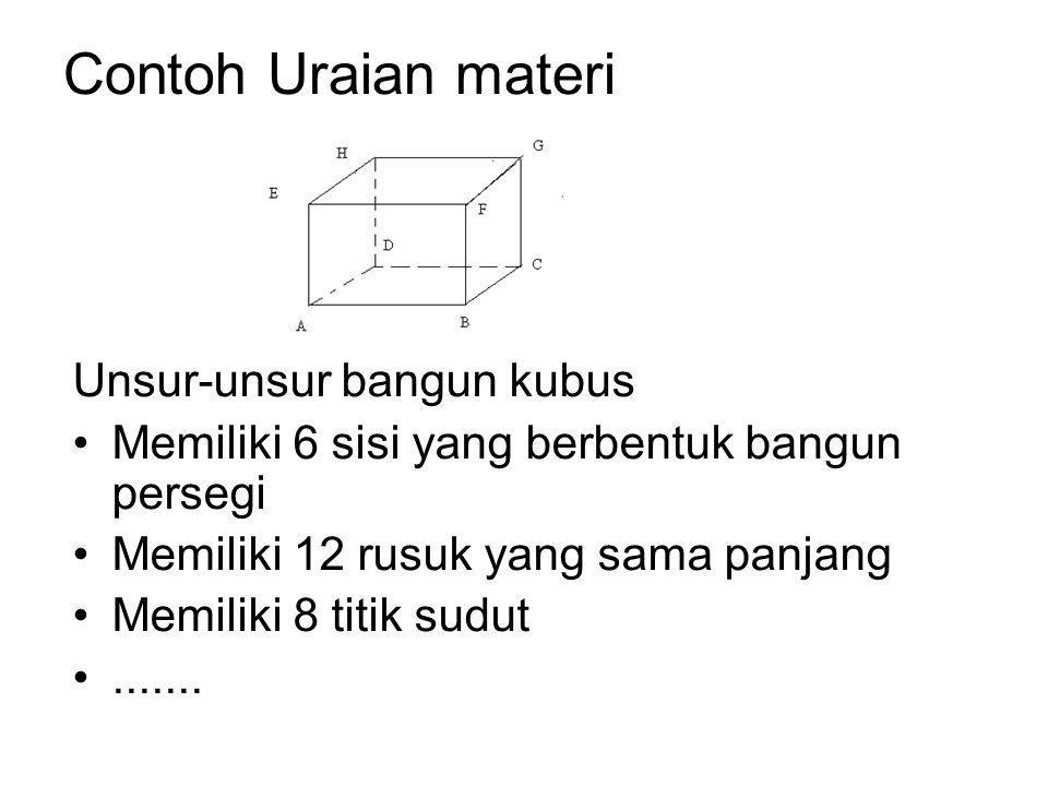 Contoh Uraian materi Unsur-unsur bangun kubus