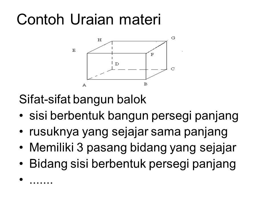 Contoh Uraian materi Sifat-sifat bangun balok