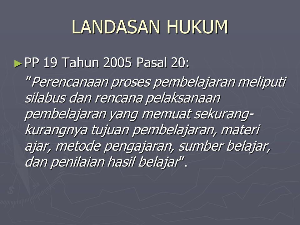 LANDASAN HUKUM PP 19 Tahun 2005 Pasal 20: