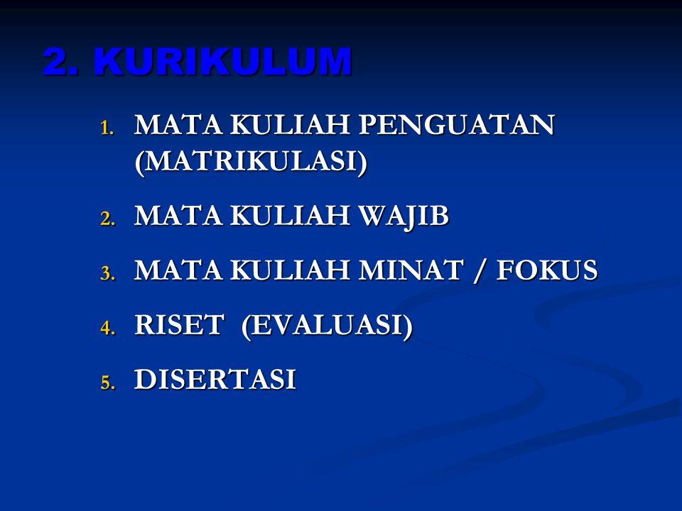 2. KURIKULUM MATA KULIAH PENGUATAN (MATRIKULASI) MATA KULIAH WAJIB